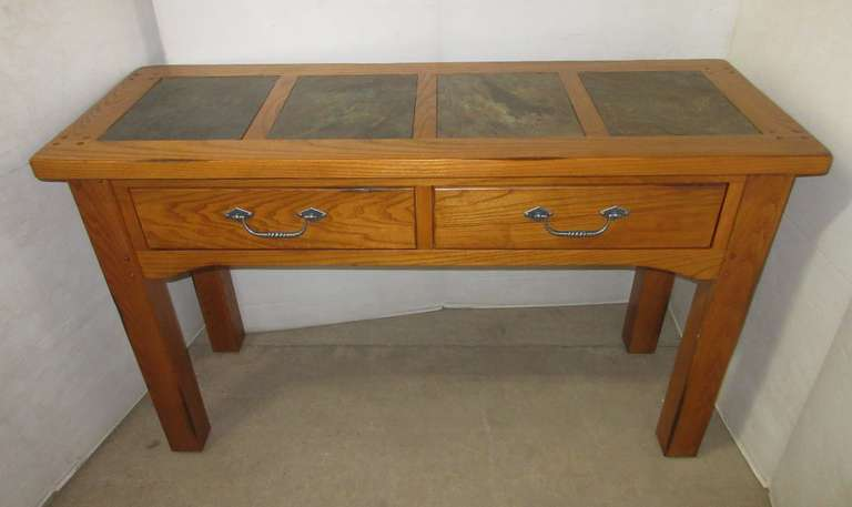 Solid Oak Entry Table with Slate Top and Two Drawers, Matches Lot No. 14