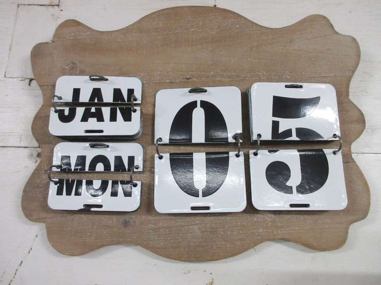 Tin Metal Perpetual Wall Mount Calendar on Wood