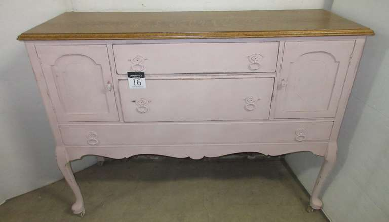 Antique Solid Oak Buffet, Painted with Rustoleum Blush Chalk Paint, Tigers Oak Top