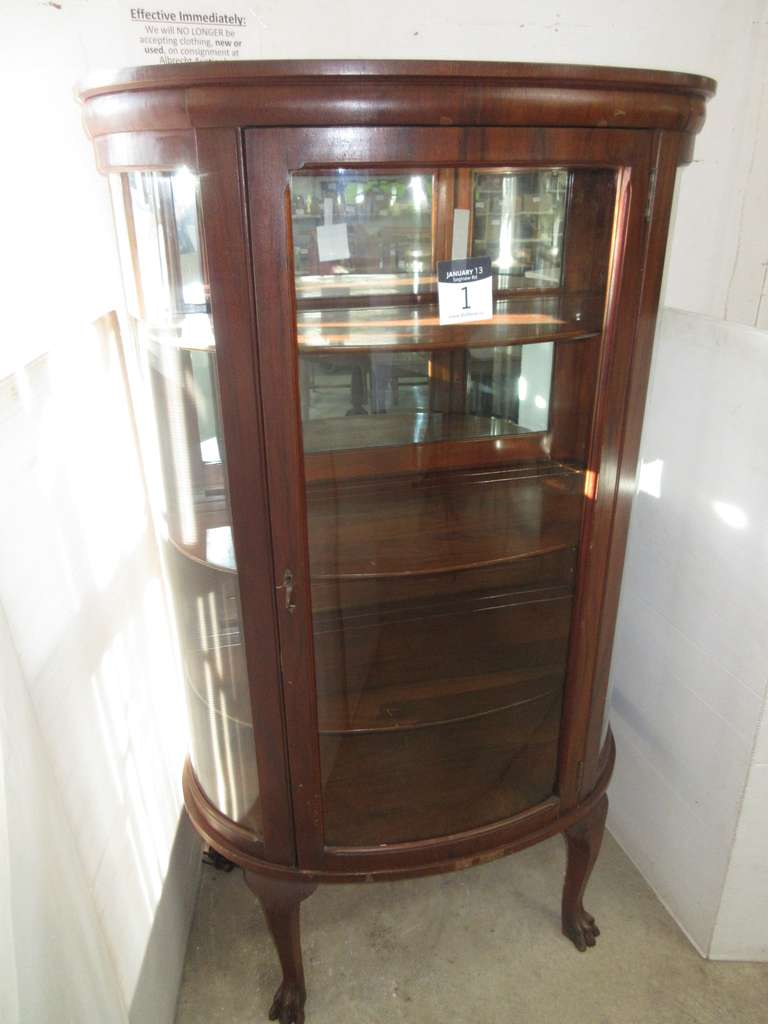 "Lighted Curved Glass Front Antique Cabinet with Claw Feet, Tag on Back Reads ""Henry Feige & Son Fine Furniture, Saginaw, MI"", Complete with Key"
