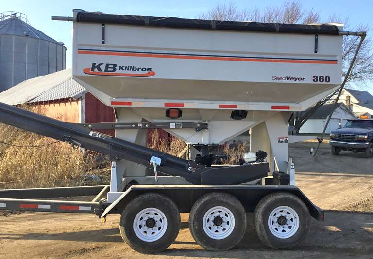 "2019 Killbros Seed Tender, Used Only One Season, 360-Unit Capacity, 8"" Belt Conveyor, 3-Axles, Bumper Hitch, 5 HP Honda Motor with Electric Start, Roll Tarp"
