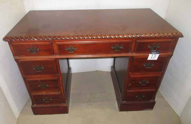 Old Wooden Desk with Six Drawers