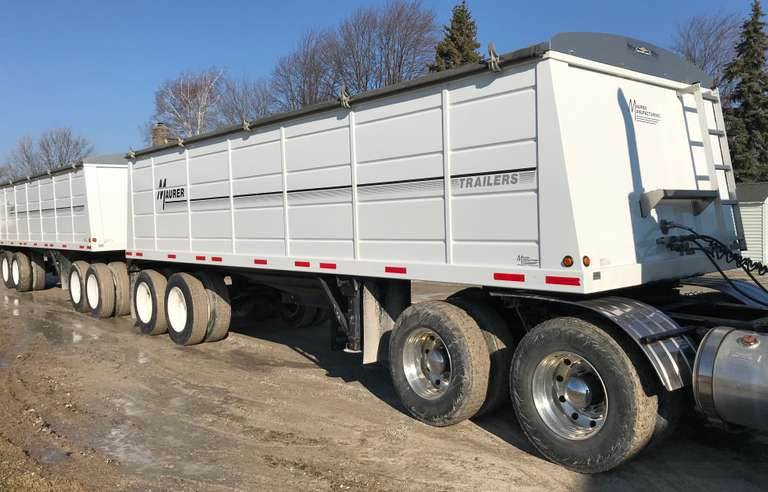 2013 and 2014 Maurer Hopper Breakup Double Trailers, Low Use, As New Condition, Housed, Can Separate and Use as Single Trailers, Very Clean, Clean and Clear Titles