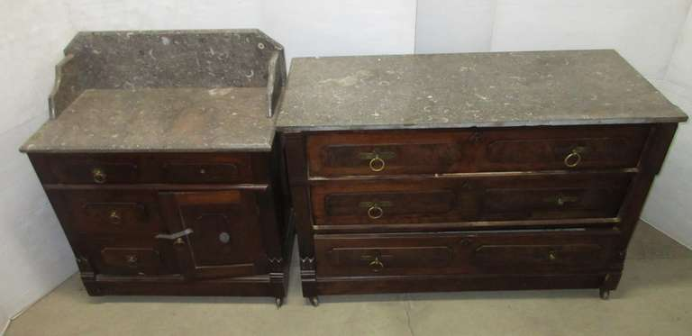 "Wood/Marble Topped Dresser Set, Includes: Large Three-Drawer Dresser, 45""W x 20""D x 29""H; Small Dresser with Three Drawers and Door, 29""W x 16""D x 34""H"