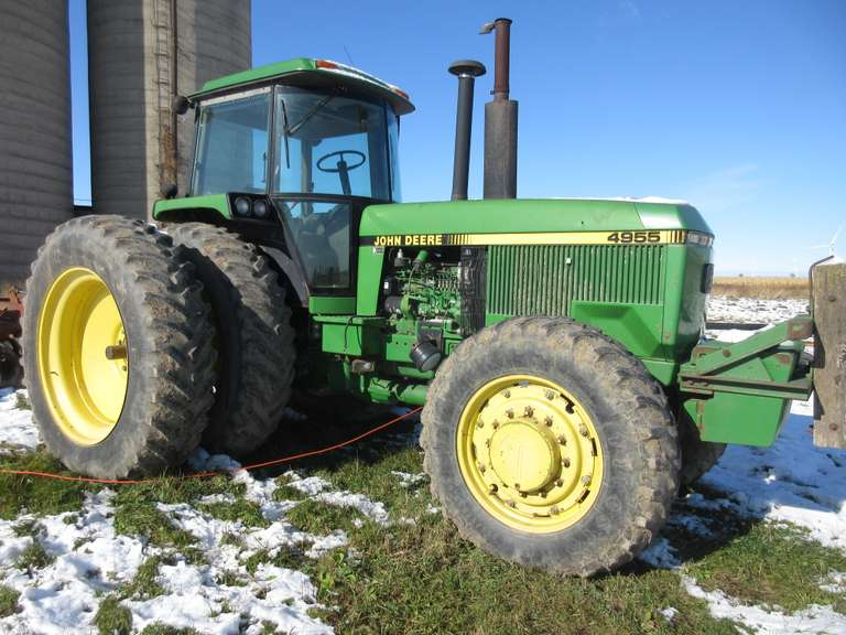 John Deere 4955 FWA Tractor, (Under 4,700 Hours), Product No. RW4955P008587, 14.9R30 Fronts, 18.4R46 Rear Duals, 3-Point Hitch, PTO, Remote Hydraulic Outlets, (20)-47kg Front Weights (2068 lbs. Total).  Note:  A video of this item can be viewed.  Click on the Thumbnail photo, locate the picture with the play tab, click play to watch video.