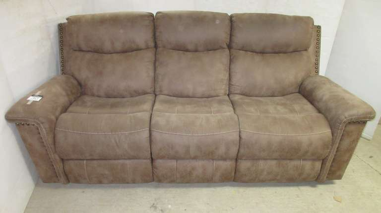 Double Recliner Sofa, Reclines at Each End, Distressed Leather Looking Material with Light and Medium Brown Tones
