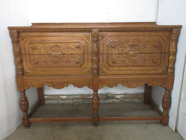 Antique Jacobean Style Solid Oak Buffet with Four Drawers, Matches Lot No. 4