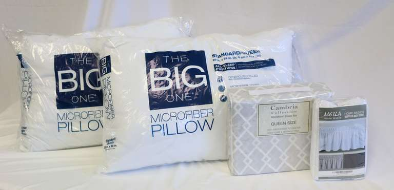 Four-Piece Set, Including: 2- Standard/Queen Pillows, 1- Set of Queen Sheets, And 1- White Queen/King Bed Skirt