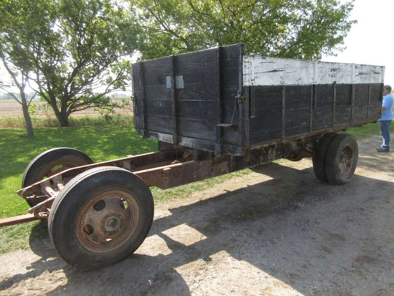 Old Truck Chassis with 12' x 8' Wooden Grain Box