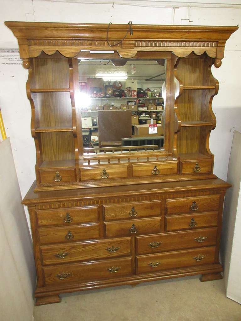 All Wood Oak Dresser with Lighted Mirror and Side Shelves, Has 10 Drawers Total