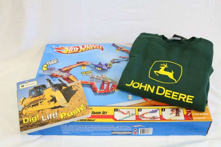 Three-Piece Set, Including: Hot Wheels Gorilla Takedown, John Deere L. Childrens Sweatshirt, and John Deere Book