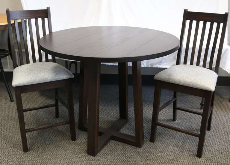 L.J. Gascho Ash Round Distressed Pub Table with (2) Fabric Bar Stools