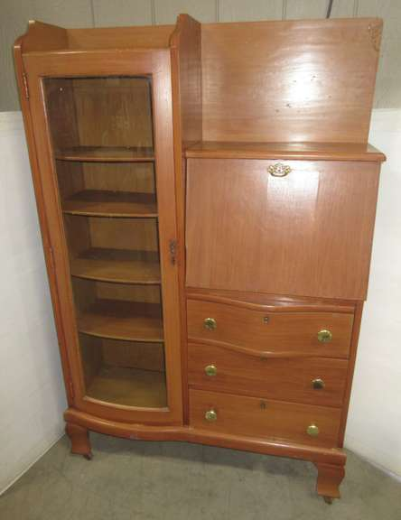 Wood Secretary Hutch Cabinet, Has Key, Unlocks Desk Part and Shelves, Has Glass Front