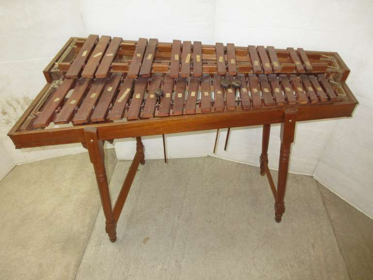 Older Handmade Wooden Marimba Xylophone with Resonators, All Parts are Original to the Instrument