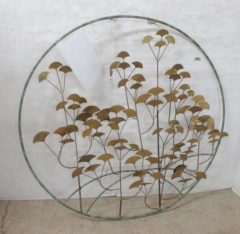 Older Mid-Century Modern Round Hanging Wall Sculpture of Gingko Leaves, Signed Jere and Dated 1981
