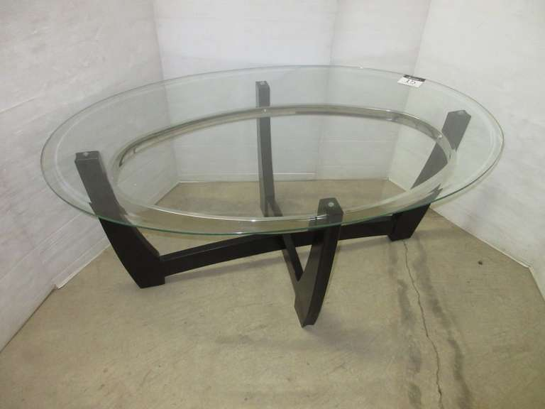 Large Oval Coffee Table with Glass Top, Matches Lot No. 13 and 14
