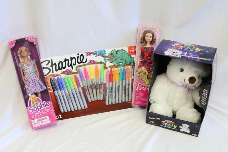 Four-Piece Set, Including: 2- Dolls, 1- Glow Teddy Bear, and 1- 21-Count Sharpie
