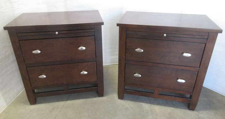(2) Wood Matching Nightstands with Metal Hardware, Matches Lot Nos. 30 and 31