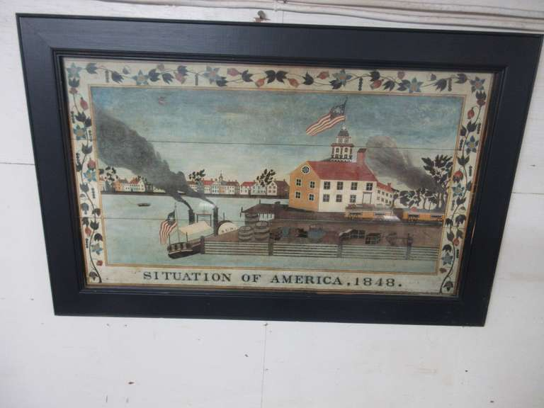 Situation of America 1848 Print, Blue Wood Frame