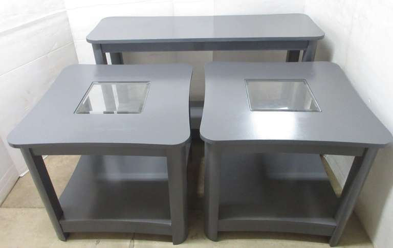 "Three-Piece Occasional Furniture Set, Includes: Gray Sofa Table, 48"" x 15"" x 28""; 2- End Tables with Beveled Glass Inserts, 26"" x 26"" x 24"""