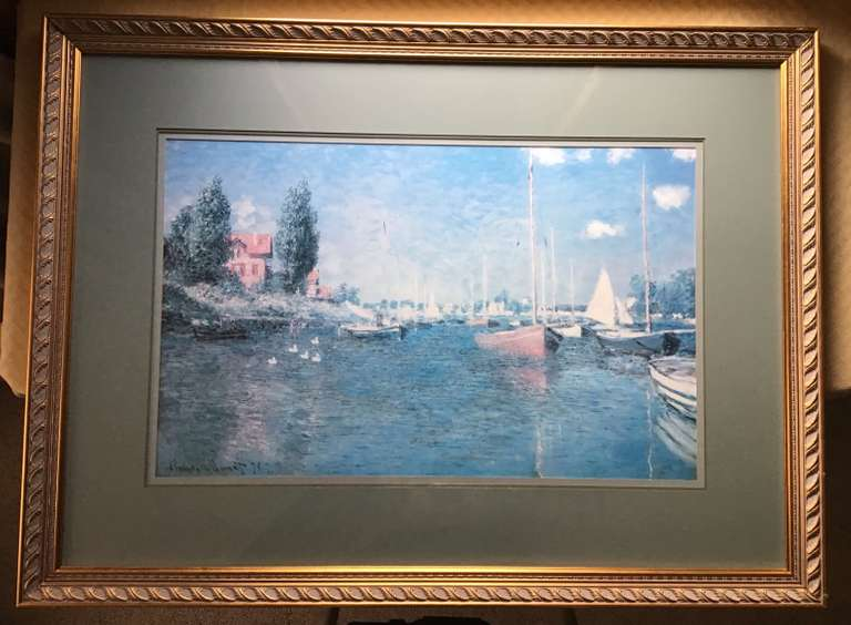 Silver Framed and Matted Monet Print of Red Sailboats