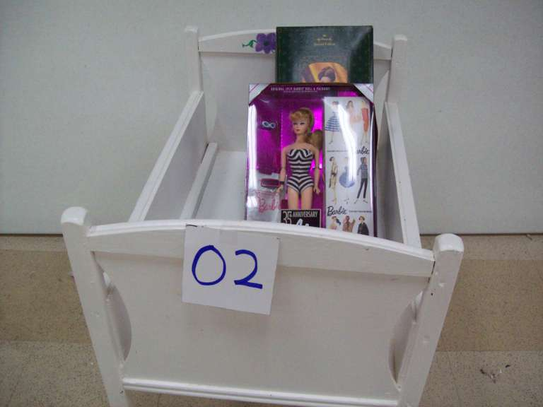 Doll Bed, (2) Barbies, and Hallmark Ornament