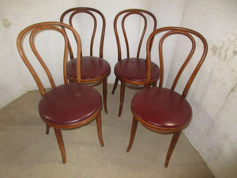 (4) Old Chairs with Red Seats