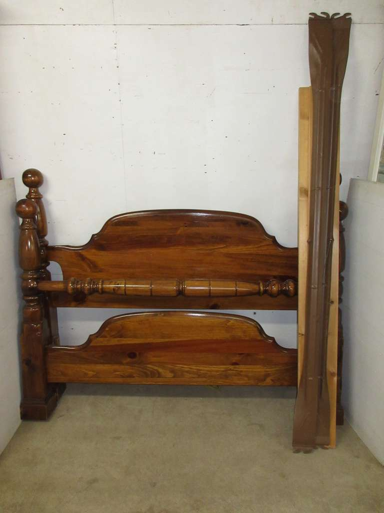 Cannonball Bed Frame, Adjusts Between a Full Size and Queen, Heavy Pine, Includes Rails, Headboard, and Footboard, Matches Lot Nos. 12, 13, and 14