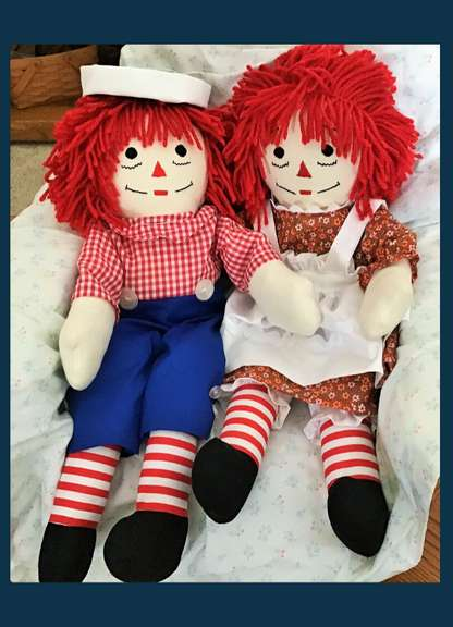 Handcrafted Raggedy Ann and Andy Dolls