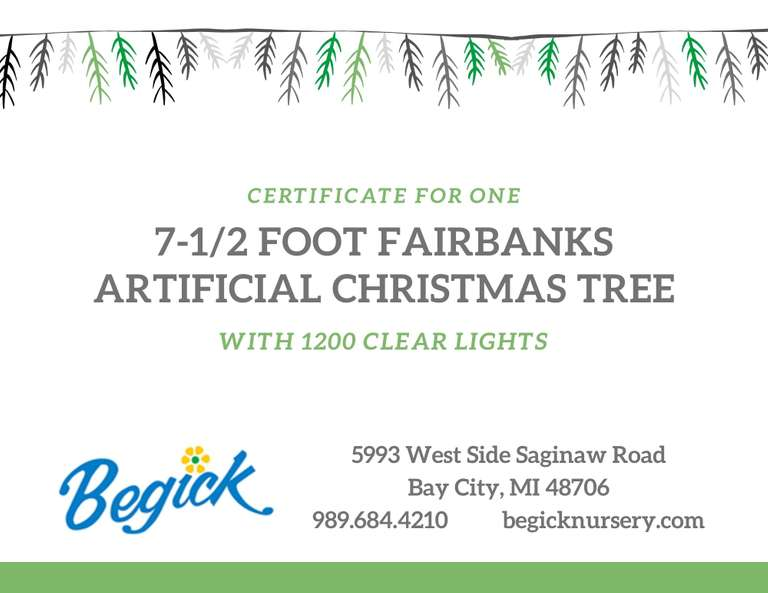 Fairbanks Artificial Christmas Tree with 1200 Clear Lights from Begick Garden Center