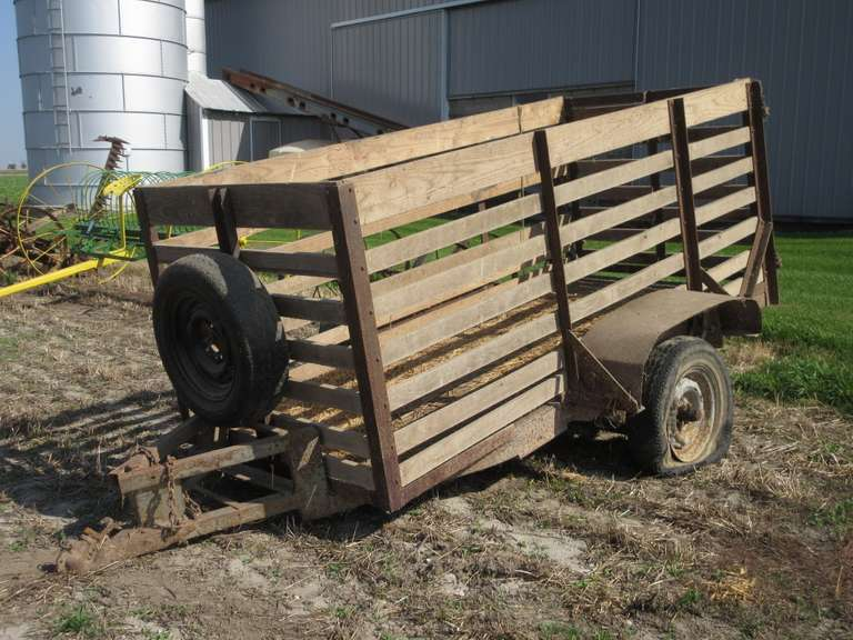 "Older 2-Wheel Stock Trailer with Ball Hitch, Hinged End Gate, 4' x 9' x 40"" Sides, Diamond Plate Steel Floor, Leaf Springs, Bad Tires"