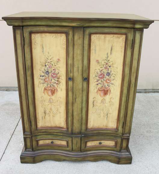 "Green Floral Entertainment Center, Room to Fits up to a 46"" TV, Pull Out Drawers for Storage, Sliding 12"" x 12"" Panel for Cords"