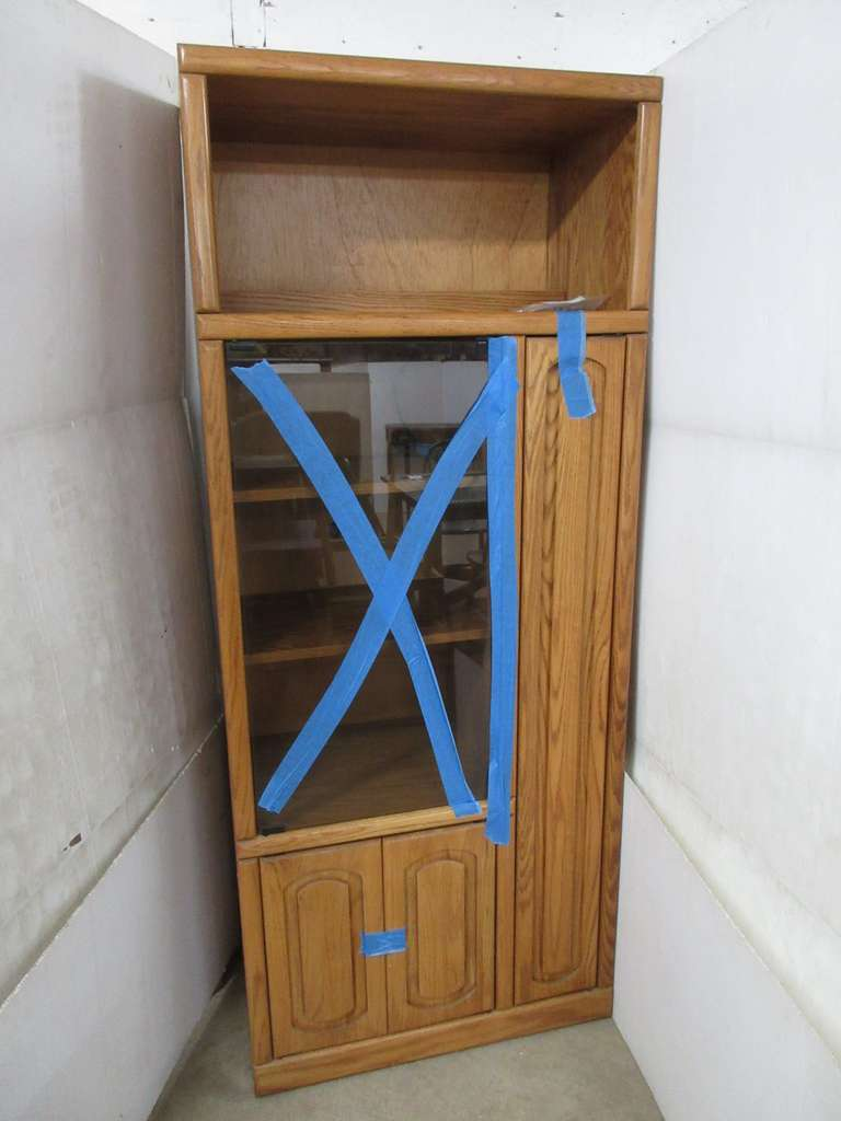 Oak Bookshelf Cabinet with Lighted Shelves and a Glass Door Section, Holds CDs or Videos, Matches Lot Nos. 14 and 16