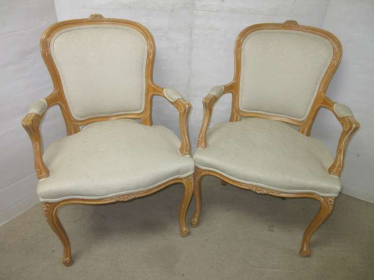 Set of (2) French Country Style Provincial White/Cream Sitting Arm Captain's Accent Chairs with Padded Armrests, Matches Lot No. 33