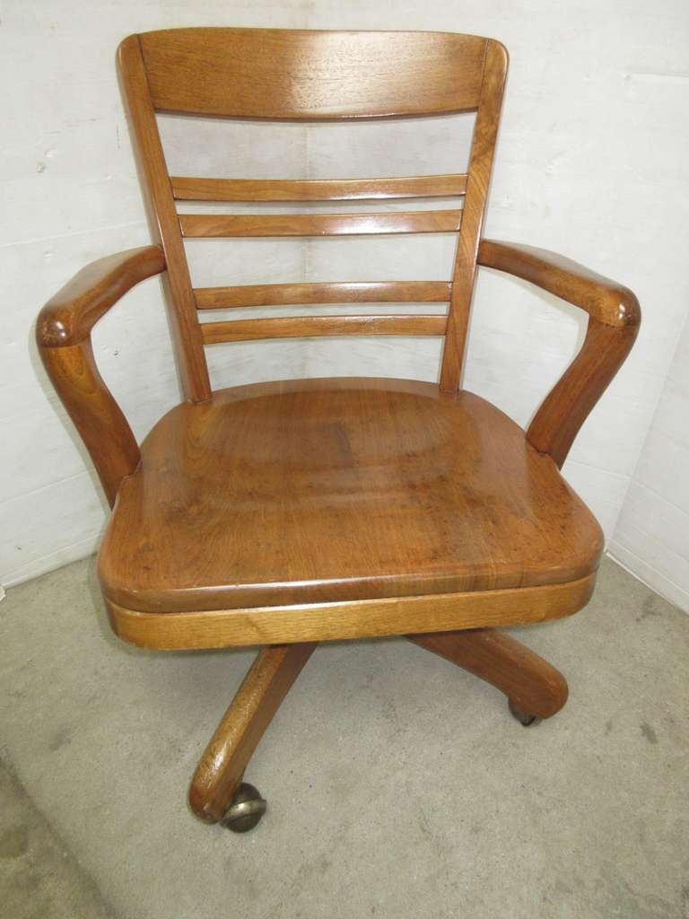 Older Office Chair, Oak, Swivels with Adjustable Seat Height, Rocks, Ball Casters