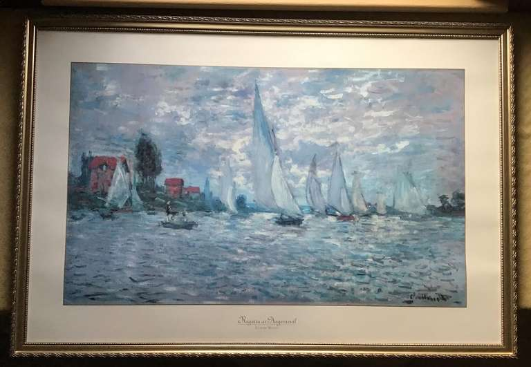 Gold Framed and Matted Monet Print Regatta at Argenteuil