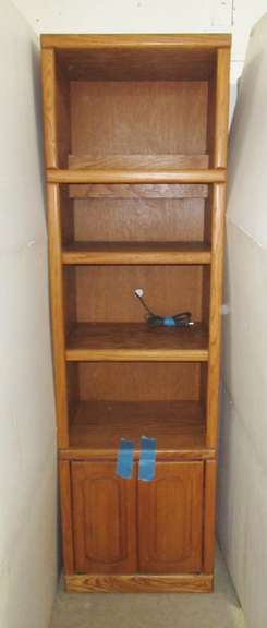 Bookshelf Cabinet with Lighted Shelves and Bottom Doors with Shelves, Matches Lot Nos. 15 and 16