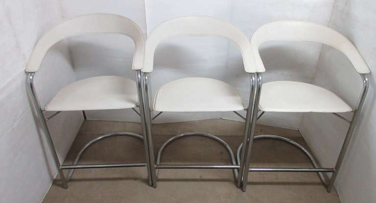 (3) Older Italian White Leather Barstools