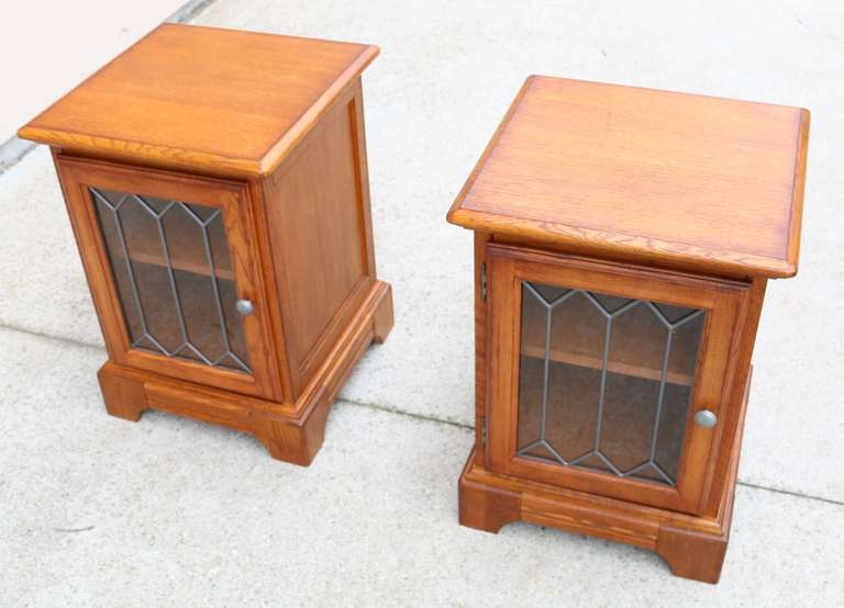 Set Of (2) Oak End Tables With Glass Doors