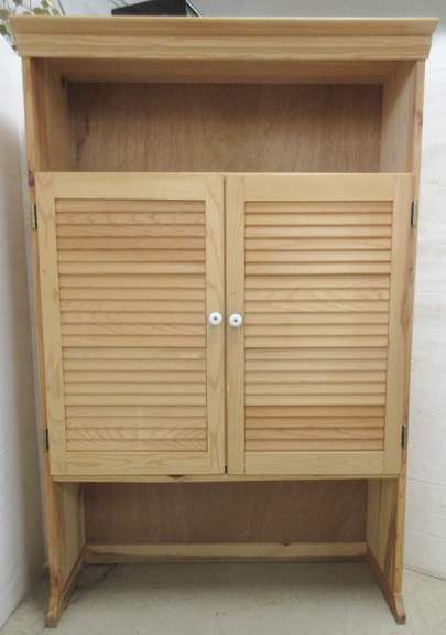 Knotty Pine Cabinet with Louver Doors and Three Shelves