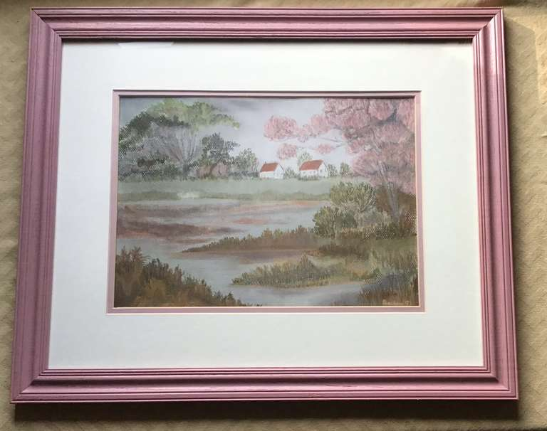 Mauve Framed and Matted Original Painting