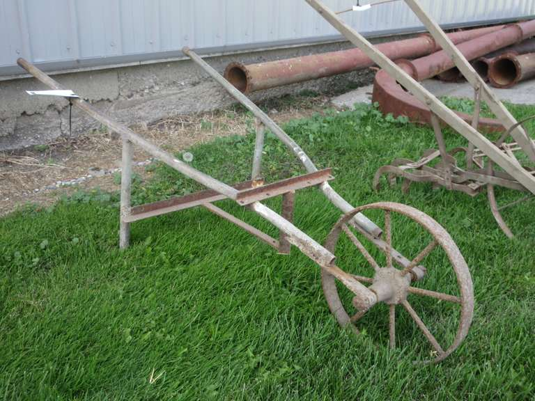 Antique Milk Can Cart with Pipe Handles
