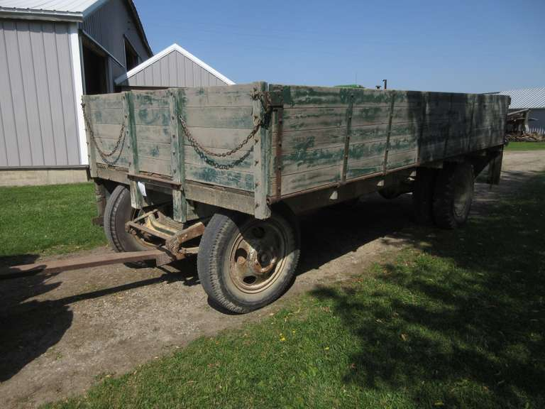 Old Truck Chassis Wagon with 8' x 16' Wood Drop-Side Grain Box