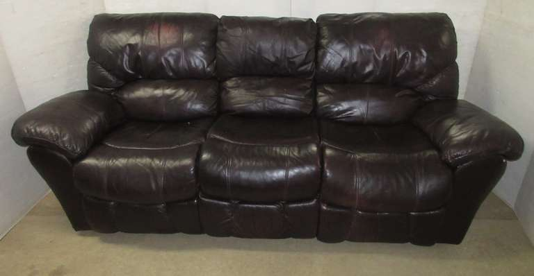 Brown Leather Couch, Both Ends Recline