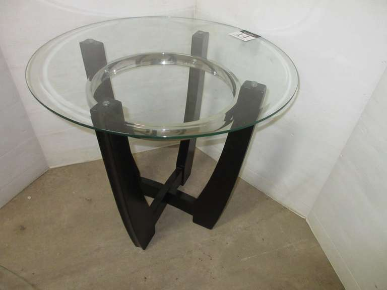 Round End Table with Glass Top, Matches Lot No. 13 and 15