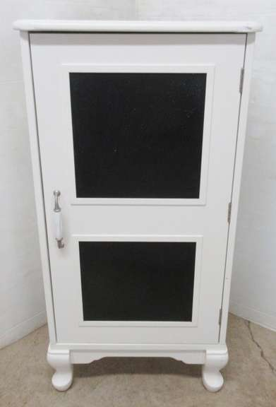 Heavy Wooden White Cabinet with Three Shelves