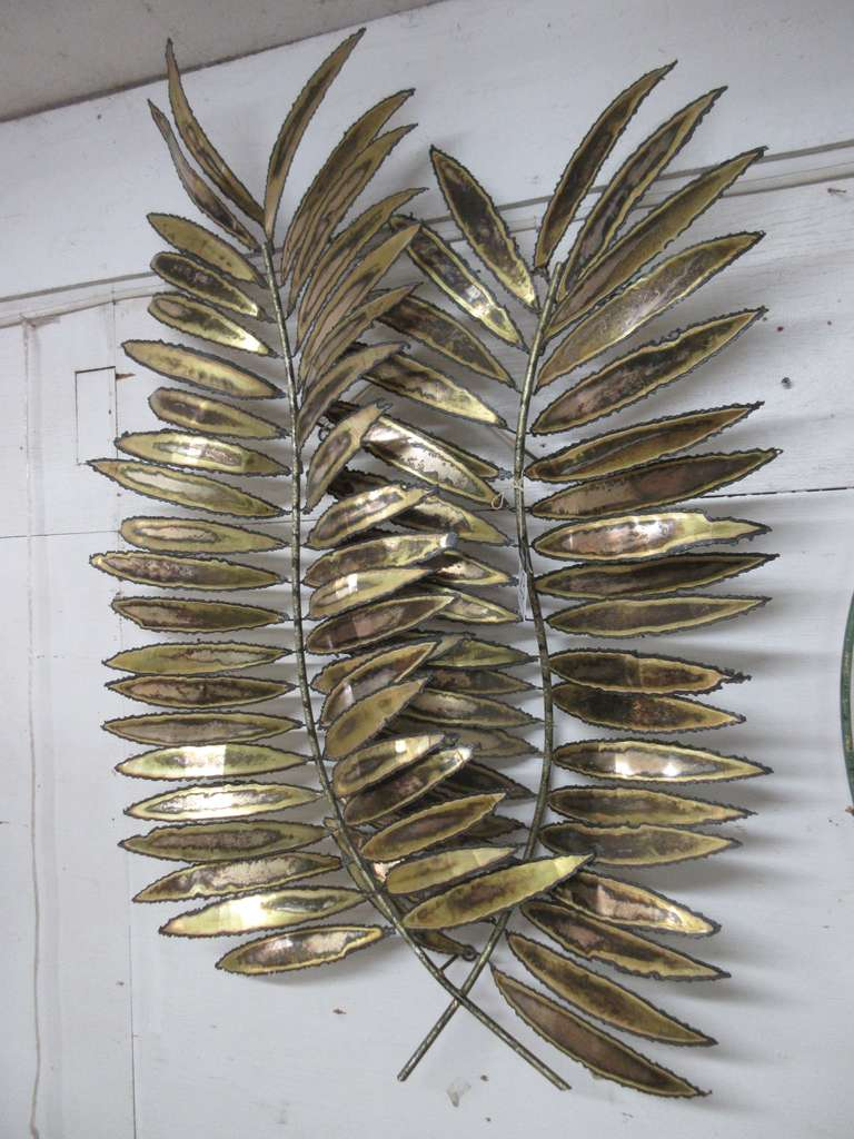 Older Mid-Century Modern Metal Wall Sculpture of Two Large Palm Tree Fronds, Signed Jere and Dated 1982