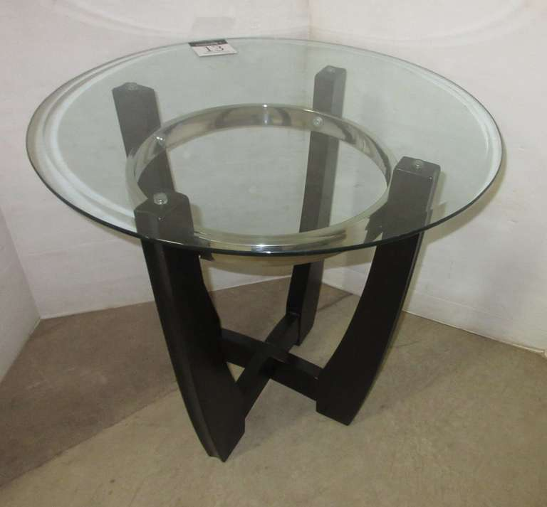 Round End Table with Glass Top, Matches Lot No. 14 and 15