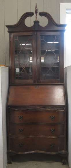 Wood Hutch Display Secretary Unit, Dark Wood