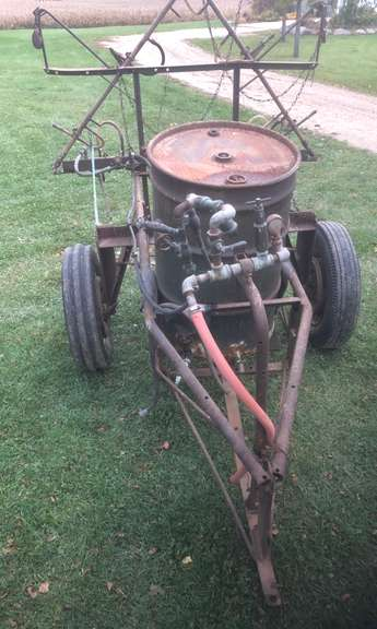 Shop Built Tow Behind Sprayer, Designed to Hold (2)-55 Gallon Drums, Fold-Down Booms Cover Approx. 15-18' Swath, Comes with 540 RPM PTO Sprayer Rump, Some of the Spray Nozzles are Missing, Needs Work